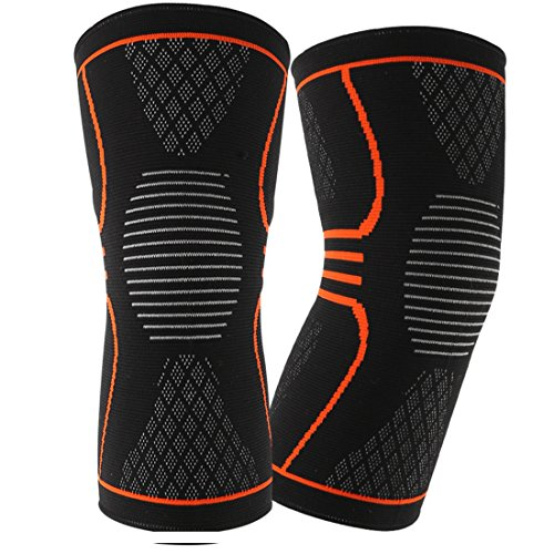 Knee Compression Sleeve (1 Pair), EveShine Best Compression Knitted Knee Support Brace with Gel Strips for Running, Sports, Jogging, Basketball, Injury Recovery for Men & Women - L