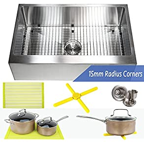 Ariel 33 Inch Farmhouse Apron Front Stainless Steel Kitchen Sink Package - 16 Gauge Flat Front Single Bowl Basin - Complete Sink Pack + Bonus Kitchen Accessories - Ideal For Home Improvement