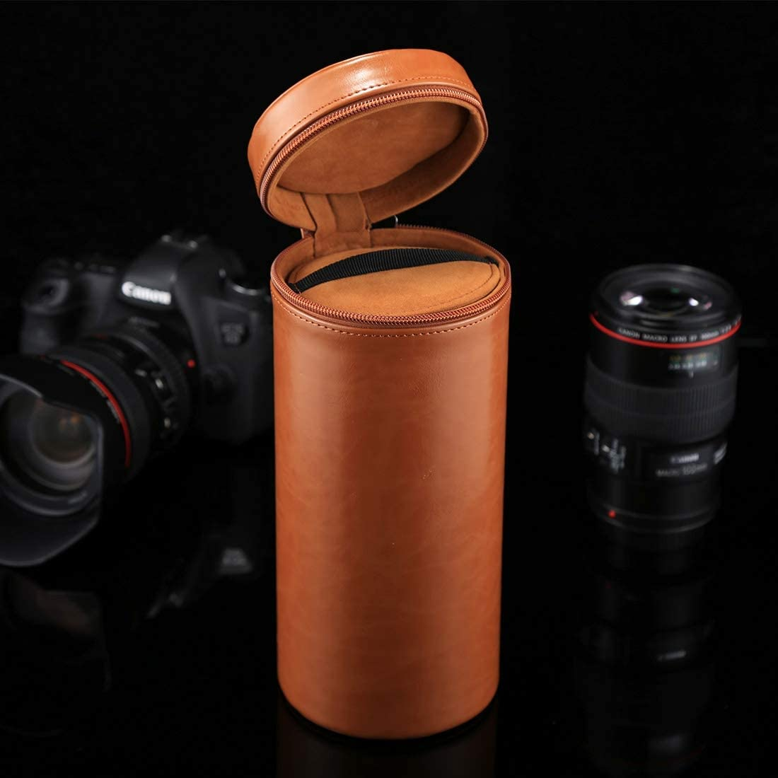 24.510.510.5cm Durable CAOMING Extra Large Lens Case Zippered PU Leather Pouch Box for DSLR Camera Lens Size Color : Coffee