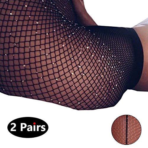 Rhinestone Back Seam Pantyhose - Sexy Back Seam Pantyhose Sparkle Rhinestone Fishnets Tights for Women LUCKELF (Regular, Black×2)