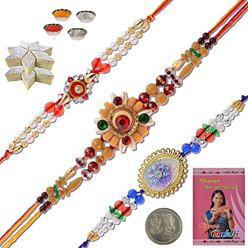 Little India BR502KK Multi-Color Set of 3 Acrylic Beads Rakhi And 400 GMS Kaju (3 New Cute Beads)