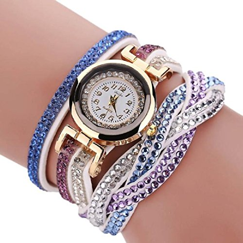 Malltop Women Luxury Double Color Bling Crystal Braided Winding Wrap Chain Bracelet (Braided Womens Watch)