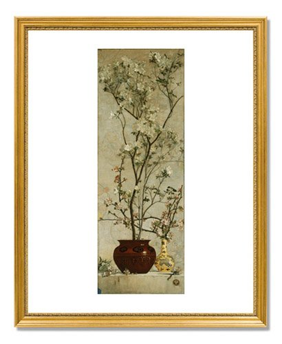 Charles Caryl Coleman, Still Life with Azaleas and Apple Blossoms 17x22 Framed Gold