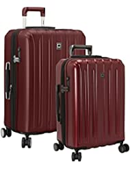 Delsey Luggage Titanium 2 Piece Hardside Spinner Carry on and Check in Set, One Size, Cherry Red