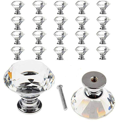 TLBTEK 20 pcs 30mm Diamond Glass Decorative Cabinet Dresser Knobs Set,Mini Cupboard Handles Pack, Faceted Crystal Drawer Pulls Bulk Kit for Furniture Bathroom Kitchen Desk Laundry