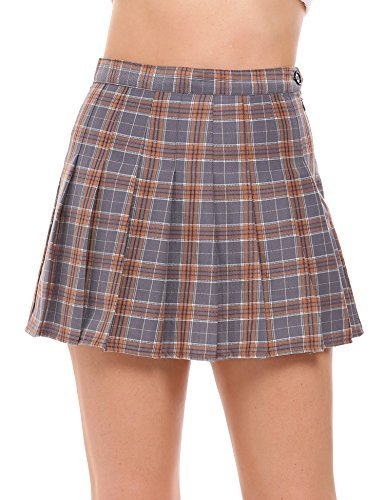 Chigant Women High Rise Pleated Mini Tennis Skirt