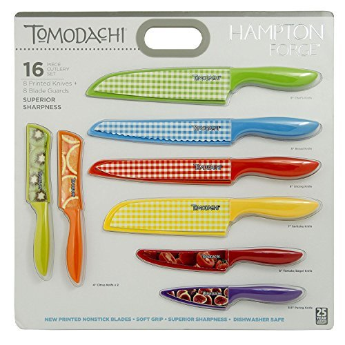 5 Piece Sushi Knives (Hampton Forge 16-Piece Tomodachi Prints Cutlery Set)