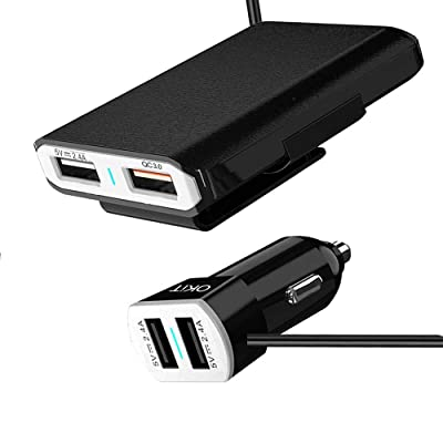 OKiT Car Charger 54W/10.2A 4 Ports Rapid USB Multi-Port QC3.0 Quick Charging Car Charger Charge Compatible Android/iOS Smartphones USB Device: Home Audio & Theater
