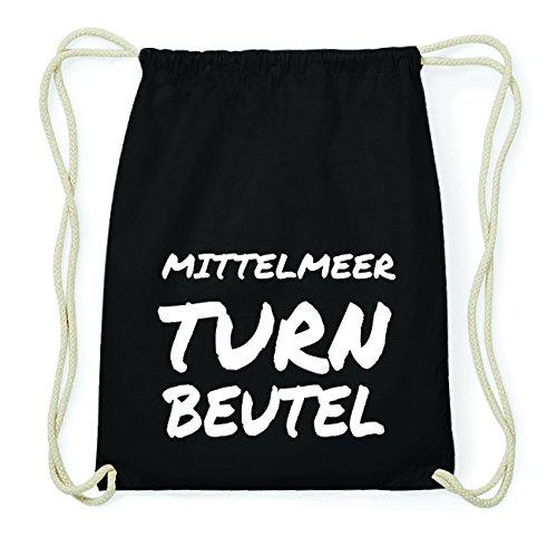JOllify MITTELMEER Hipster Turnbeutel Tasche Rucksack aus Baumwolle - Farbe: schwarz Design: Turnbeutel