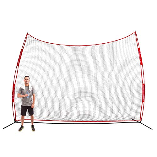 Backstop Cage Portable (Rukket Barricade Backstop Net | Indoor and Outdoor Lacrosse, Basketball, Soccer, Field Hockey, Baseball, Softball Barrier Netting for Backyard, Park, and Residential Use (16x10ft))