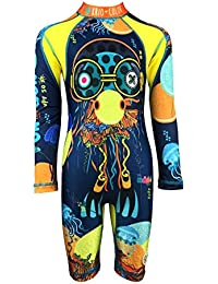 KRIO COLOR Boys Onepiece Sunsuit Swimsuit with Long Sleeves and UV Protection (2 to 4 Years, Jellyfish)