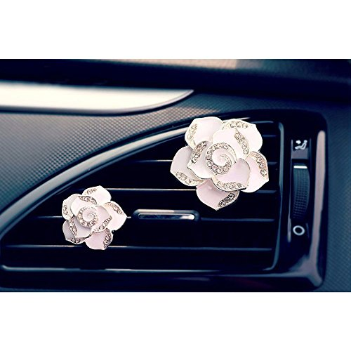 COGEEK Car Perfume Air Freshener Diamond Camellia Flower Air Conditioning Outlet Clip (white)