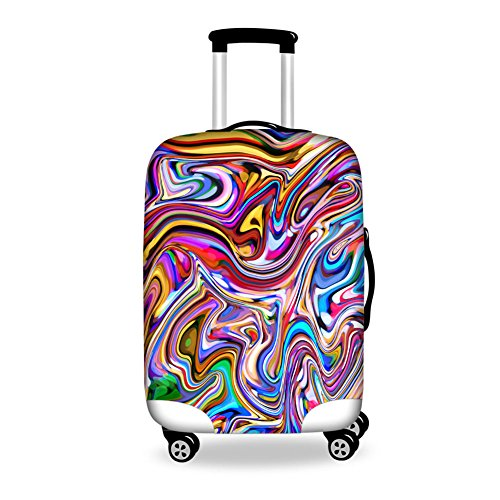 HUGS IDEA Trippy Striped Art Luggage Dust Cover Suitcase Protector Fits 22/24/26 Inch