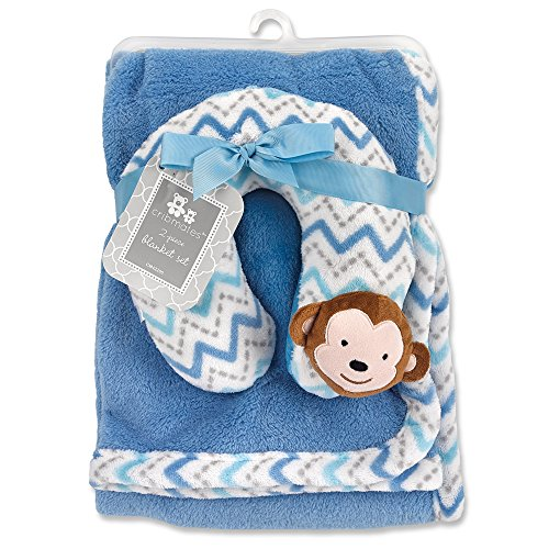 Monkey Nursing Pillows - Cribmates Blanket with Neck Support, Blue/White/Grey