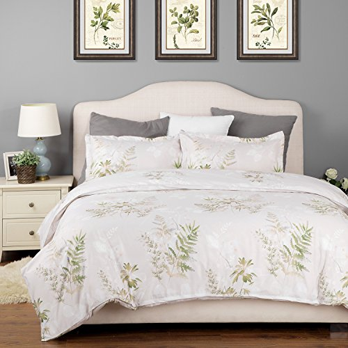 Botanical Printed Duvet Cover Set with Zipper Closure Bedding Set Grey Garden Ferns Pattern Gift for Kids Twin (68