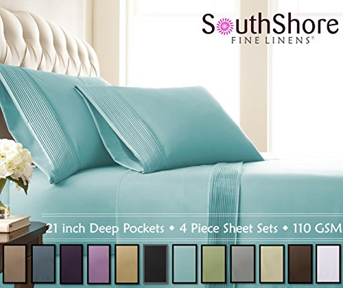 Price comparison product image Southshore Fine Linens® - 4 Piece - Extra Deep Pocket Pleated Sheet Set , QUEEN , SKY BLUE