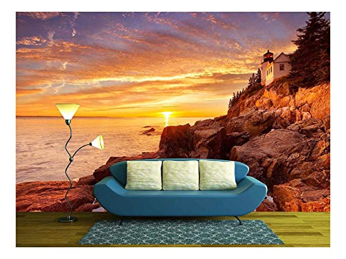 - wall26 - The Bass Harbor Head Lighthouse in Acadia National Park, Maine, USA. Photographed During a Spectacular Sunset. - Removable Wall Mural | Self-Adhesive Large Wallpaper - 66x96 inches