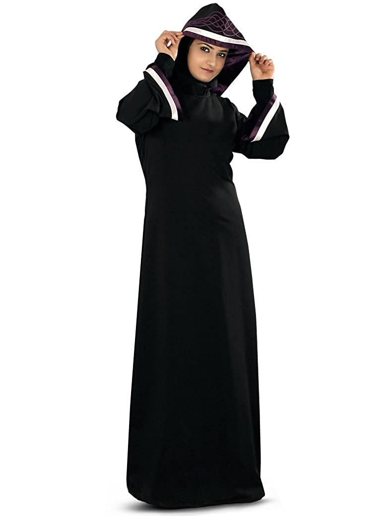MyBatua Women's Moroccan Style Hooded Rusda Abaya