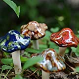 JINMURY Ceramic Garden Mushrooms ,Pottery Ornament Model Statue ,Lawn Ornament Décor,Flowerpot,4-Pack
