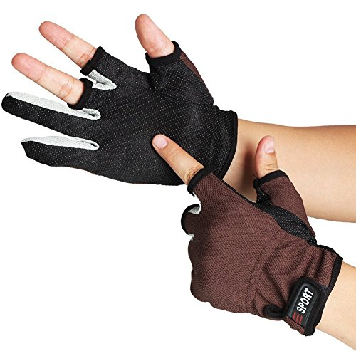 Sougayilang 3 Low-cut Fingers Skidproof Fishing Gloves Anti Slip Fishing Rod Tackle Gloves Outdoor...