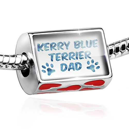 Kerry Charm Blue Dog Terrier (Bead Dog & Cat Dad Kerry Blue Terrier Charm with hearts by NEONBLOND)