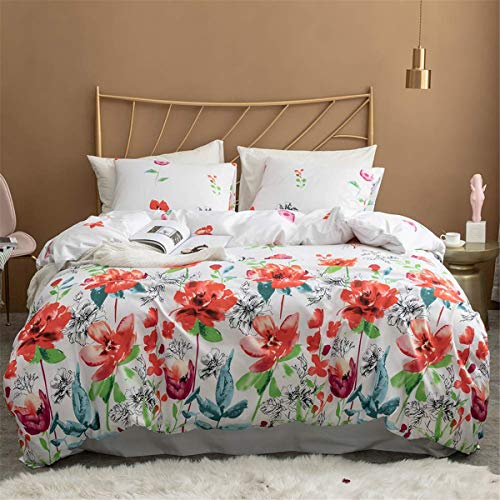 Guidear 3D Colorful Floral Printed Pattern Quilt Cover with 2 Pillowcases,Flower Comforter Cover with Zipper & Ties,Soft Lightweight Microfiber Multi-Color Bedding Set Queen Size 90