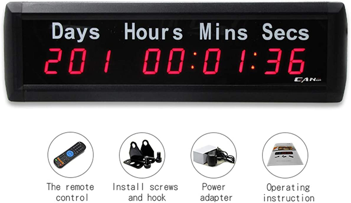 Hanchen Indoor LED Clock 1 Red Countdown Timer Count Up Days Event Timer Timing Clock for Office Classroom Store Airport Restaurant Indoor Gymnastics Wireless Remote CE
