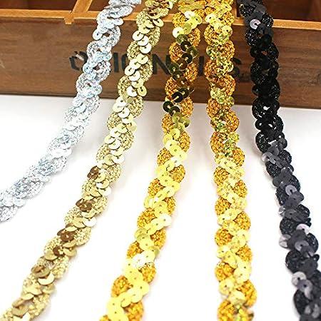 Gold Yalulu 10 Yards Perlen Geflochten Zierband Borte aus Dekoband Zierband Geschenkband Spitzenbord/üre N/ähen Kleidungsst/ück Kopfschmuck Materialien