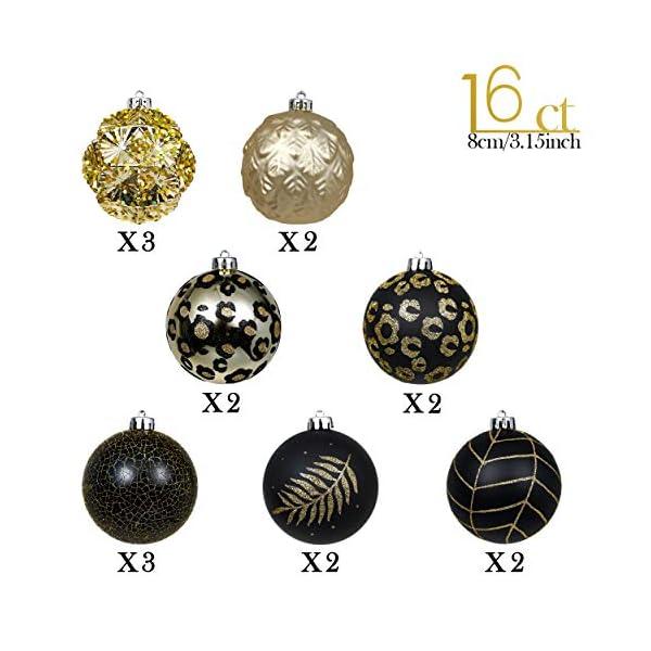 Valery Madelyn Palle di Natale 16 Pezzi 8 cm Palline di Natale, Festa Tropicale Dorata Ornamenti di Palla di Natale Infrangibili Neri e Dorati per la Decorazione Dell'Albero di Natale 3 spesavip