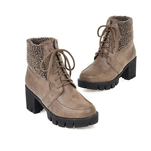 Boots Allhqfashion Top Round High Toe Low Women's Brown Heels Materials Closed Solid Blend ZPZaq