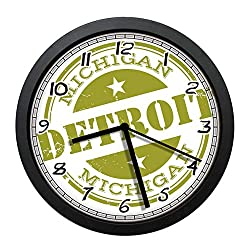 BCWAYGOD Aged Grunge Detroit Michigan Stamp Design with Stars Tourism Travel Olive Green White Round 12 Silent Quartz Decorative Wall Clock Non-Ticking Classic Digital Clock (Black)