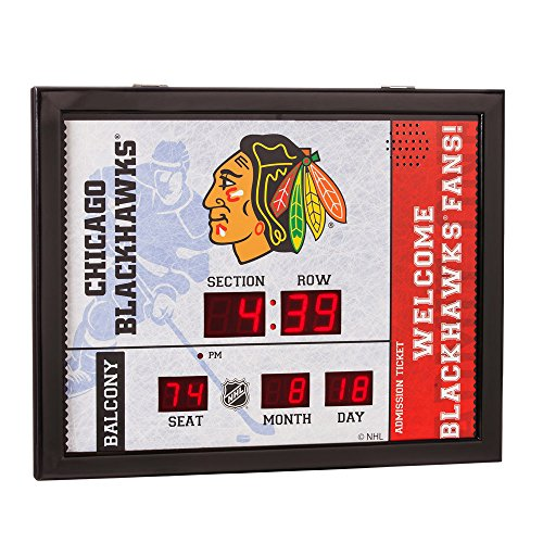 Evergreen Team Sports America Chicago Blackhawks Bluetooth Scoreboard Wall Clock