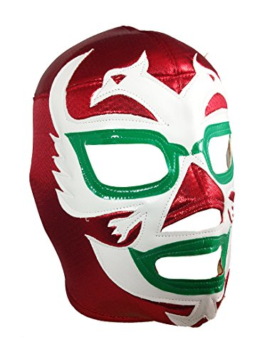 DOS CARAS Adult Lucha Libre Wrestling Mask (pro-fit) Costume Wear - Red/White/Green -
