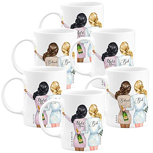 Personalized Bridesmaid Gifts - Coffee Mug Gifts - 11oz - 5 Different Designs - Wedding Gifts,Party Favors, Bridesmaid Gifts, Housewarming Gifts, Christmas Gifts, Birthday Gifts - Design 2 - Set of 6 -