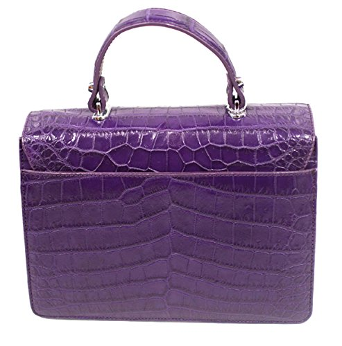 Bag Purse Authentic Womens Purple Strap M Belly Skin W Crocodile Handbag Clutch aqY07a
