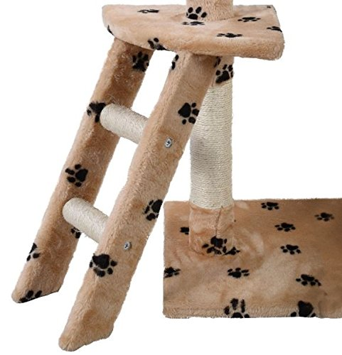 K&A Company Cat Tree Tower Condo Kitten Hammock House Furniture Scratcher Pet 60'' New Scratching Post Toy Activity Deluxe Beige & Paws