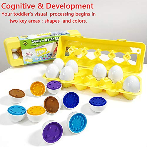 Girls Boys Toys-Matching Easter Eggs toys for 12 3 4 year old boy girls montessori toys for toddlers Gift for 1 2 3 Years Old Boys Girls Toddlers Kids Educational Color Shape Eggs 12 Pack for Kids