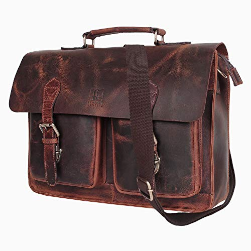 Leather Centric 15 Inch Buffalo Leather Laptop Messenger Bag Office Briefcase College Bag Fits Upto 14 Inch Laptop ()