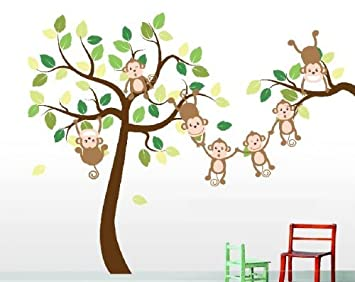 High Quality Monkey Tree Decal, Monkey Wall Decals For Childs Room Or Playroom
