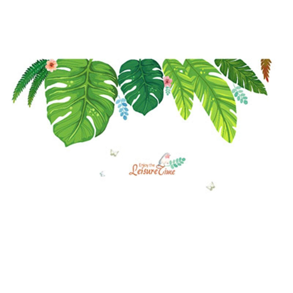 YIHOPAINTI DIY Removable Wall Decal Stickers Love Palm Tree Wall Stickers for Kids Room Living Room Office Bathroom Kitchen Bedroom Home Decor (green leaves 78x35)