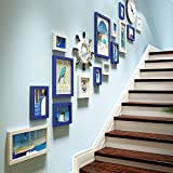 Photo Wall Duplex Apartment Combination Photo Frame Wall Mediterranean Photo Decorative Staircase 5 Inch 7 Inch 10 Inch 14 Inch ( Color : Blue and white )