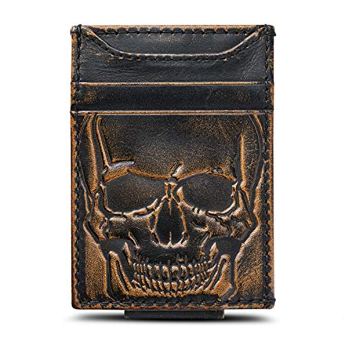 (HOJ Co. SKULL Front Pocket Wallet-Slim Money Clip Wallet-Strong Magnetic Clip-Motorcycle Wallet)