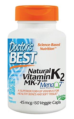 Natural Vitamin K2 MK-7 with MenaQ7 45mcg 60 Veggie Caps