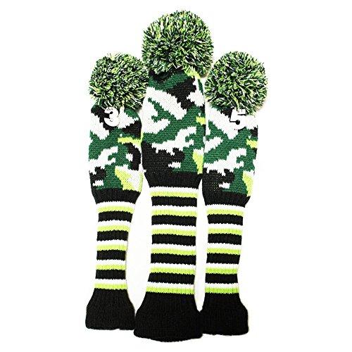 ペルー心配するロゴセレクトプラザ ゴルフヘッドカバー ニット製 3点セット ダイヤシリーズ 可愛数字ペンダント付け 迷彩緑