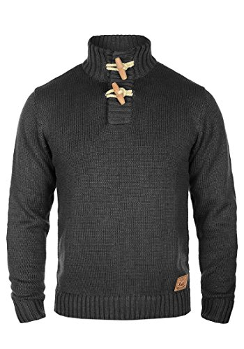 over 8288 Pour Homme Avec Pull Melange Piroy Grosse solid Pull Maille Dark Grey Col Tricot En Droit xg8CnqY