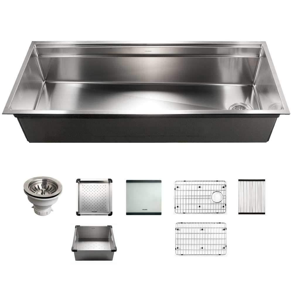 Houzer NVS-6500 Novus Sliding Dual Platform Workstation kitchen sink, Satin Brushed Steel by HOUZER