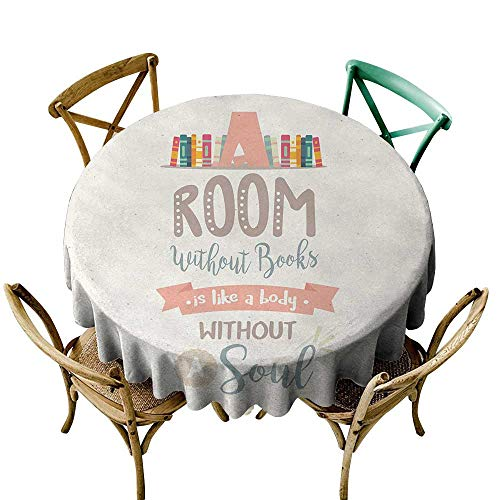 Wendell Joshua Round Outdoor Tablecloth 39 inch Book,Book Shelf Illustration with A Room Without Books is Body Without Soul Quote Print,Multicolor Kitchen Dining Room Restaurant Party -