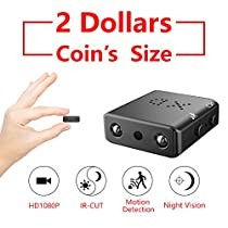 2018 ZTour Smallest Mini Hidden Spy Camera Security SurveillanceCamera Covert Security Camera Nanny Camera Small DV DVR Camcorder Video Camera Recorder HD 1080P Tiny and Compact with Night Vision Motion Detection for Home Office Cars Backyard Store Warehouse House Indoor and Outdoor Surveillance etc