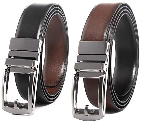 CONTACTS Men's Leather Belt (Brown_COALT18-BlBr)