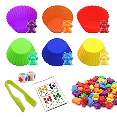 Giveme5 Counting Bears Set - 46 Pcs Rainbow Counting Bears with Matching Sorting Muffin Cups, Cards, Dices & Tweezers - Montessori Rainbow Matching Game - Educational Color Sorting Toys for Kids: Toys & Games